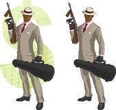 Cartoon afroamerican mafioso with Tommy-gun — Stock Vector