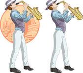 Retro musician cartoon character — Stock Vector