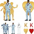 King of hearts attractive afroamerican man with corps de ballet dancers silhouettes Mafia card set — Vecteur #51058693