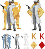 King of diamonds afroamerican police chief and people silhouettes Mafia card set — Stockvektor
