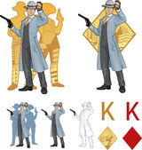 King of diamonds asian police chief and people silhouettes Mafia card set — Stockvektor