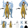 Постер, плакат: King of spades afroamerican mafioso godfather with crew silhouettes Mafia card set