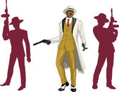 Afroamerican mafioso godfather with crew silhouettes — Stock Vector