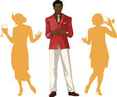 Afroamerican male party host with female guests — Vector de stock