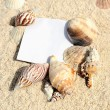 Blank paper on white sand beach — Stock Photo #12353629