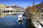 Lyon Croix Rousse and Rhône river — Stock Photo