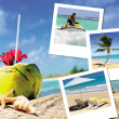 Coconuts cocktail, starfish and pics — Stockfoto #14199015