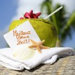 Caribbean paradise beach coconuts cocktail — Stock Photo #18138619
