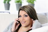 On telephone — Stock Photo