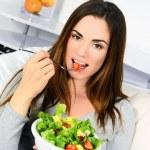 Woman eating salad. — Stock Photo