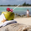 Stock Photo: Caribbeparadise beach coconuts cocktail