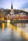 Lyon şehir gece — Stok fotoğraf