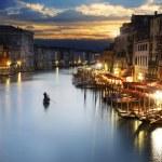 μεγάλο κανάλι, το βράδυ, Βενετία — Φωτογραφία Αρχείου