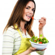 Cooking and eating vegetables — Stock Photo
