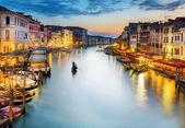 夜は、ヴェネツィアのカナル ・ グランデ — ストック写真