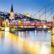 Lyon by nigt with lights — Stock Photo #27669115