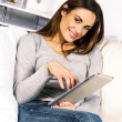 Electronic pad woman — Stock Photo