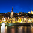 Stock Photo: Lyon by nigt with lights