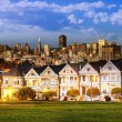 Stock Photo: Alamo Square at twilight