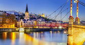 Lyon by nigt with lights — Stock Photo