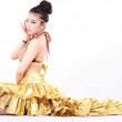 Woman in various dance costumes and fun poses — Stock Photo