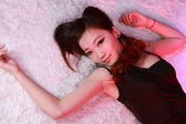 Sexy woman in various fun poses with colourful background. — 图库照片