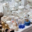 Porcelain at a flea market — Stock Photo