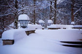 Snowy lamps near house in the woods — Stock Photo