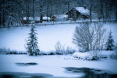 Snowy Alpine house and frozen river in the woods — Stock Photo