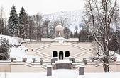 Fontanna zamek linderhof w zimie — Zdjęcie stockowe