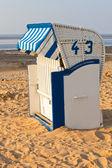 Beach wicker chair strandkorb in Northern Germany — Stock Photo