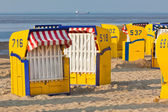 Beach wicker chairs strandkorb in Northern Germany — Stock Photo