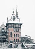 антверпен замок в зимы метель — Стоковое фото