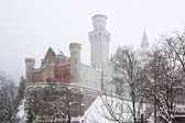 Bavarian Neuschwanstein Castle at snowy winter — Stock Photo