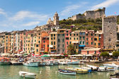 View of town and castle Portovenere from sea — Stock Photo