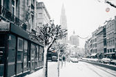 Antwerp at winter snowstorm. — Stock Photo
