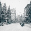 Antwerp at Winter Snowstorm — Stock Photo