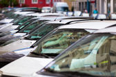 Line of Cars on the city street — Stock Photo