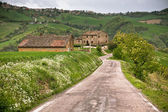 Italy Farmhouse and Local Road — Стоковое фото