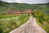 İtalya çiftlik evi ve yerel yol — Stok fotoğraf