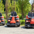 Stock Photo: Red Lawnmowers