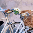 White Bicycles with Basket — Stock Photo