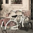 City White Bicycles with Basket — Stock Photo #15702441