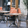 Outdoor street cafe tables — ストック写真