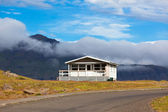 White House and Asphalt Road in East Iceland — Stock Photo