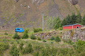East Iceland Nature Landscape with House and Minibus — Stock Photo