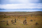 Pyramids from stones, Iceland — Stock Photo