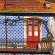 Front Door and Azulejo Wall of Old House in Porto — Stock Photo #18626731