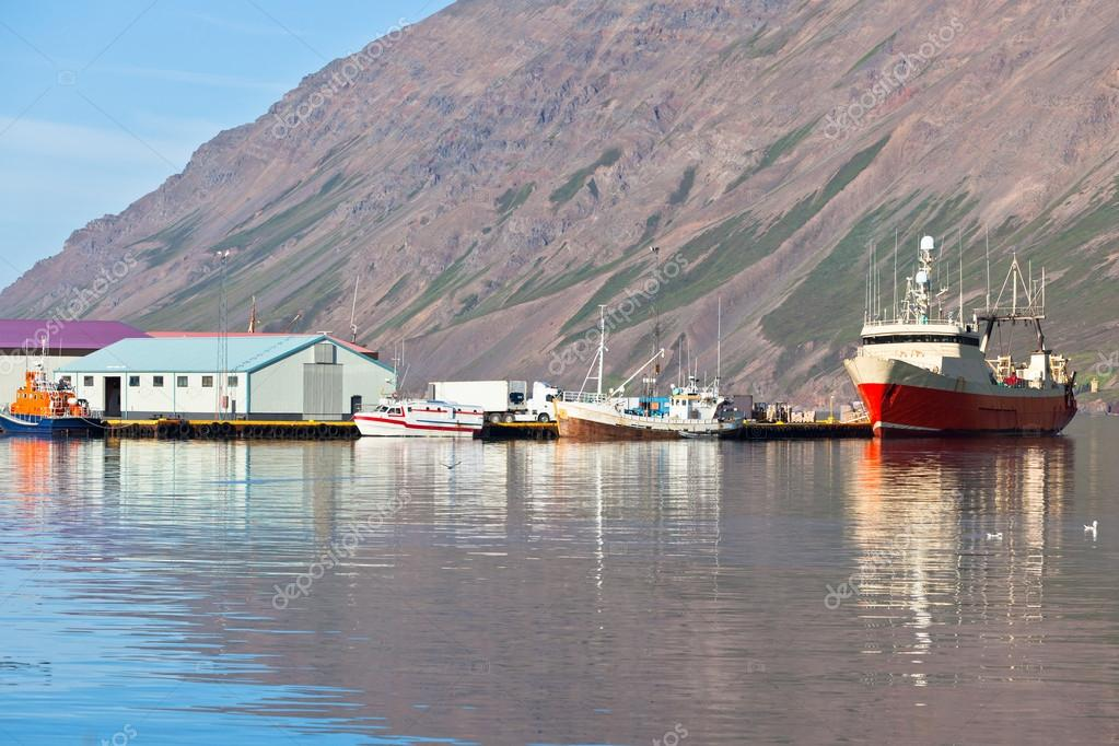 Typical Iceland Harbor with Fishing Boats in Sunny Summer Day  Stock Photo #18975937