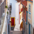 Narrow Street with Stairs in Old Town, Coimbra - Stock Photo